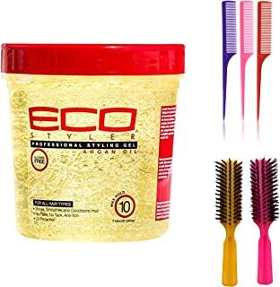 Eco Style Styling Gel, Argan Oil, 24 Ounce (Including 3 Piece Rat Tail Hair Comb Set & 2 pc Colorful Handle Nylon Bristles...