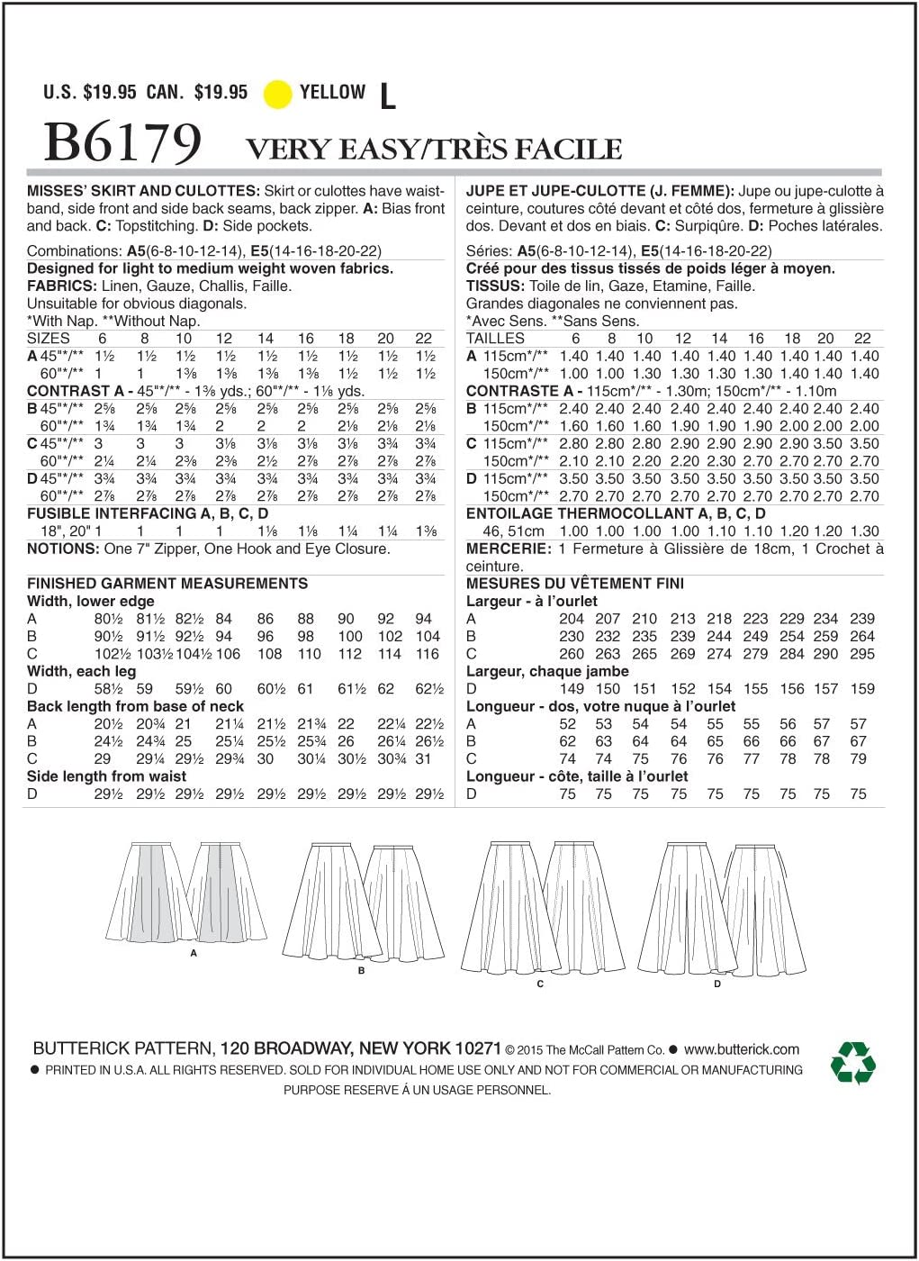 Tallas 34-42 Butterick Patterns 6179 A5 Patrones de Costura para Falda y pantal/ón Culotte para Mujer