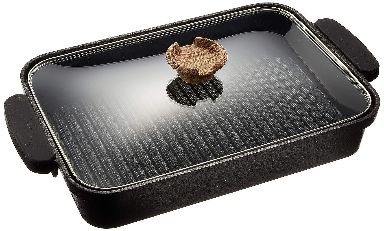 王族きらめきマイクロアイリスオーヤマ グリルパン ブラック 37.2×22.3×6cm スキレットコート IH対応 SKL-G