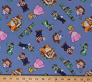 SUPER Mario fabric Blue color 100cm x 95cm