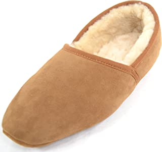 SNUGRUGS Mens Luxury Genuine 100% Full Sheepskin Slipper with Soft Sole