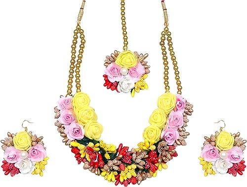 Sarthak Royal Gota Patti Multicolor Flower Jewellery Set for Women Girls Mehandi Haldi Baby Shower