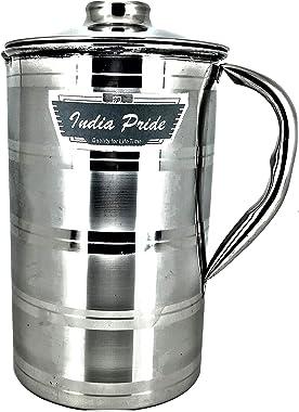 India Pride Stainless Steel Water Milk Juice Soft Drink JUG with Lid (Medium (1.5 Littre)) (Medium (1.5 Litre))