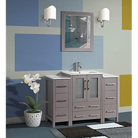 Vanity Art 48 Inch Single Sink Bathroom Vanity Compact Set 3 Cabinets 1 Shelf 8 Drawers Quartz Top And Ceramic Vessel Sink Bathroom Cabinet With Free Mirror Va3124 48 W Kitchen Dining