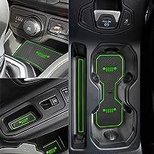 Auovo Anti-dust Interior Cup Mats Door Gate Slot Storage Mats for Jeep Renegade 2018 (16PCS/Set, Green)