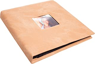 Red Co. Beige Faux Leather Family Photo Album with Front Cover Window Frame – Holds 600 4x6 Photographs