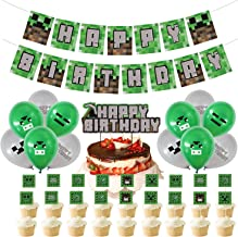 """32Pack Pixel Minecraft Game Style Birthday Party Supplies - Miner Crafting Style Decorations including """"HAPPY BIRTHDAY"""" Ba..."""