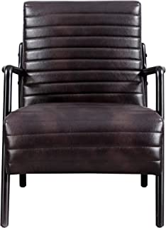 Windsor Accent Chair in Brown with Exposed, Wood Frame And Vinyl Tufted Seat And Back, by Artum Hill