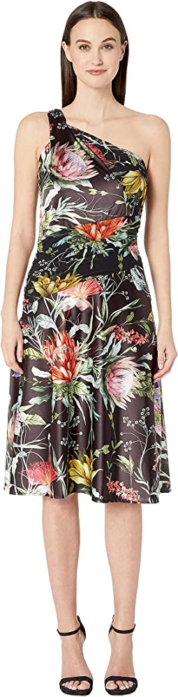 Botanical Floral Satin Print One Shoulder Knee Length Dress