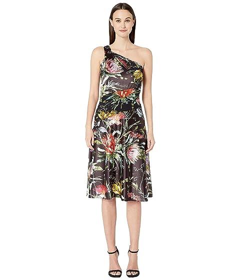 FUZZI Botanical Floral Satin Print One Shoulder Knee Length Dress
