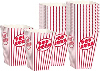 Movie Party Popcorn boxes - Striped White and Red Popcorn Boxes - Great for movie night or movie party theme, theater themed decorations or Carnival party circus box etc. (20 Boxes)
