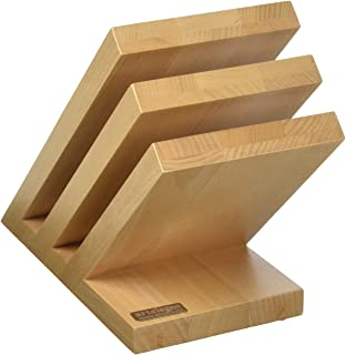 Artelegno Magnetic Knife Block Solid Beech Wood 3 Panel, Luxurious Italian Venezia Collection by Master Craftsmen Displays up to 6 High-End Knives Elegantly, Eco-friendly, Natural Finish