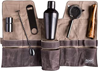 Premium Modern Professional Bartender Kit, Home and Workplace Cocktail Set, 19oz Shaker, Bar Blade, Jigger, Wood Muddler, Strainer, Spoon and Wax Canvas Bag by Root7 (Titanium)