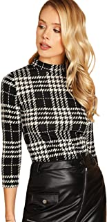 Women's Casual Mock Neck Plaid Slim Fit Workwear Blouse Top