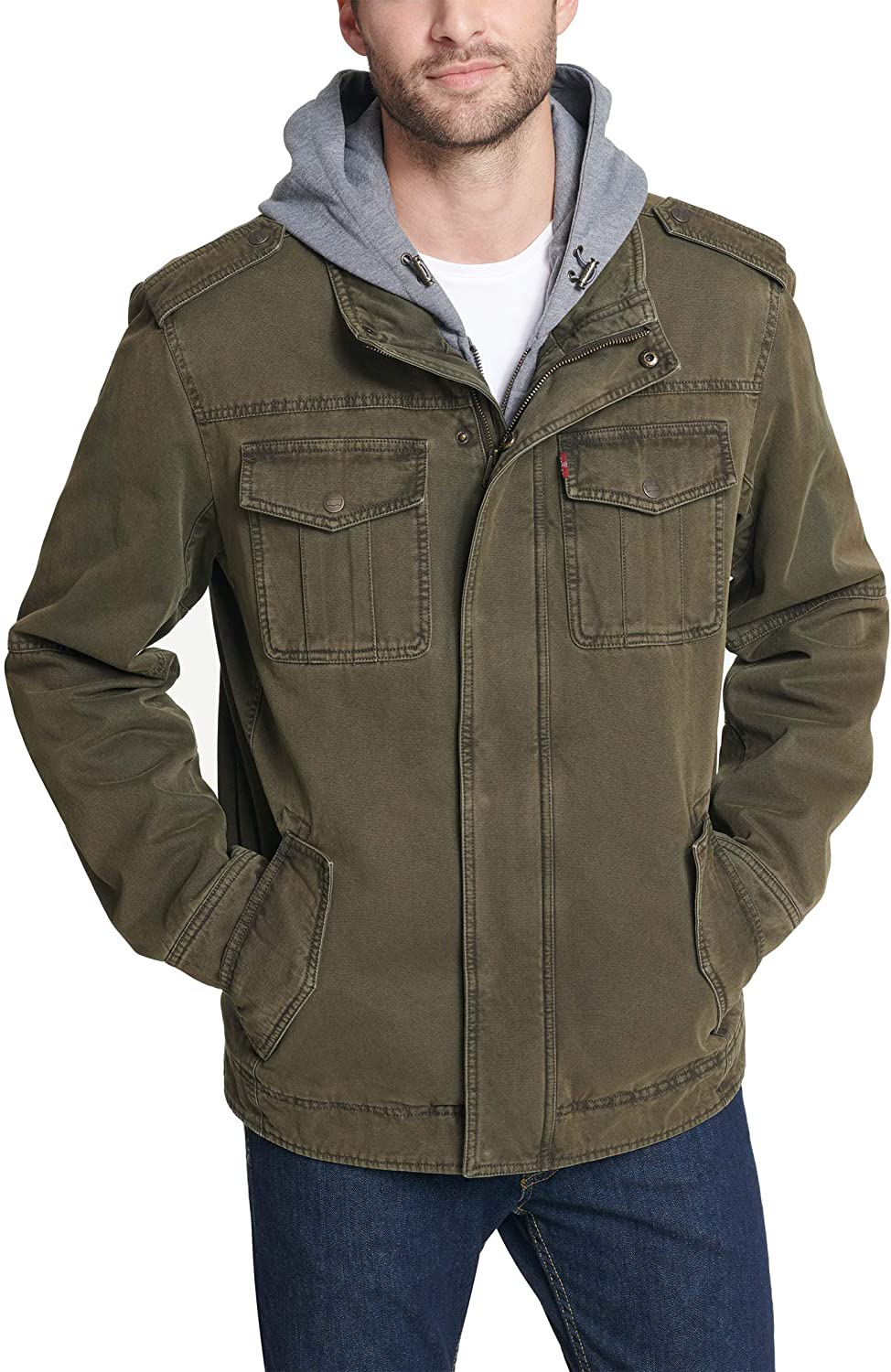 Levi's Men's Washed Cotton Military Hooded Jacket Surprise Limited time trial price price