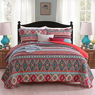 UMINEUX Quilt Microfiber Bedding Set Queen, 4-Piece Reversible Bedspread Coverlet Set with Shams Printed Patchwork Oversized Soft for All Season
