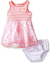 Juicy Couture Baby Girls' Stretch Jersey Stripe Dress with Lace and Mesh on Skirt