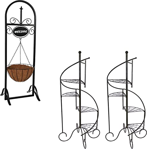 """lowest Sunnydaze online sale 48"""" H Hanging Basket Planter Stand with Decorative Welcome Sign Indoor/Outdoor Plant Holder and Set of 2 Indoor/Outdoor 56"""" H 4-Tier outlet sale Spiral Staircase Metal Iron Plant Stands Bundle outlet online sale"""
