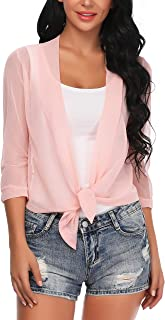 Aranmei Womens Sheer Shrug Cardigan Tie Front 3/4 Sleeve Bolero Jacket