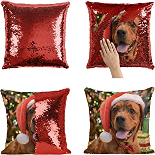 Christmas Dog P88 Sequin Pillow, Sequin Pillowcase, Funny Pillow, Two color pillow, Present Pillow, Gift for her, Gift for him, Magic Pillow, Mermaid Pillow [With Insert]