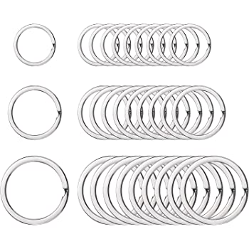 Round Flat Key Chain Rings Metal Split Ring for Home Car Keys Organization, 30 Pieces (Silver, 3/4 Inch, 1 Inch and 1.25 Inch)