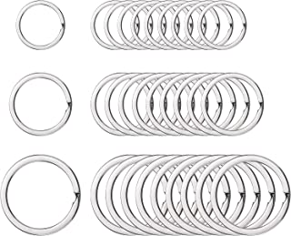 Round Flat Key Chain Rings Metal Split Ring for Home Car Keys Organization, 30 Pieces (Silver)