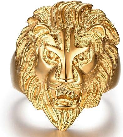 Epinki Gold Plated Ring, Men's Finger Ring Lion Head Ring