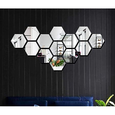 Bikri Kendra® - Hexagon 13 Silver -3D Acrylic Decorative Mirror