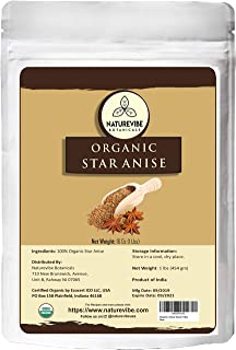 Naturevibe Botanicals Organic Star Anise Whole, 1lb | Non-GMO and Gluten Free | Adds Flavor and Aroma