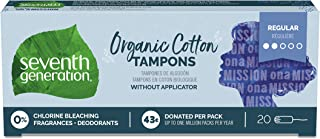 Seventh Generation Tampons, Non-Applicator, Organic Cotton, Regular Absorbency, 20 count (Packaging May Vary)