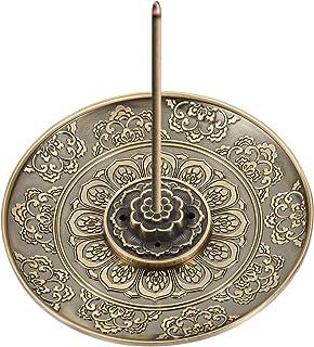 QINREN Porte-Encens de Lotu Porte-encens Porte-bâtons d'encens pour Décoration pour Maison Salle Bureau Club Yoga(Bronze)