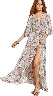 Women's Boho Deep V Neck Floral Chiffon Wrap Split Long Maxi Dress