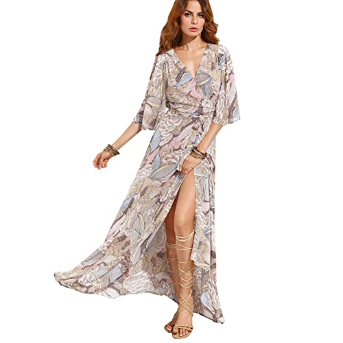 4fdcf2f4be4 Milumia Women's Boho Deep V Neck Floral Chiffon Wrap Split Long Maxi Dress