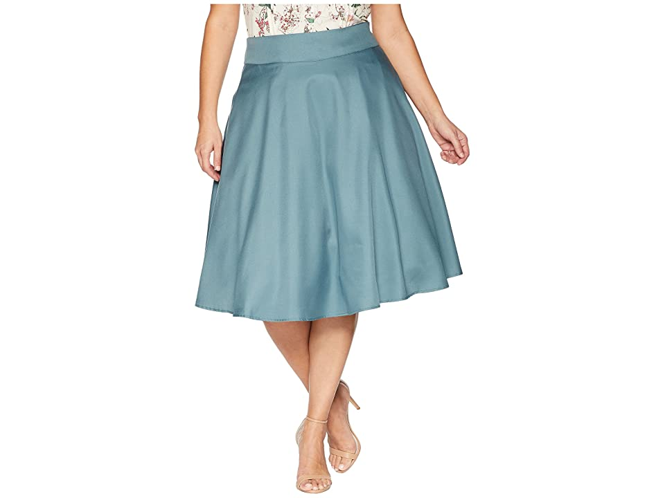 Unique Vintage Plus Size High-Waist Vivien Swing Skirt (Sage) Women