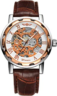Winner Unisex Fashion Leather Mechanical Wrist Watch Full Skeleton Transparent Dial and Movement
