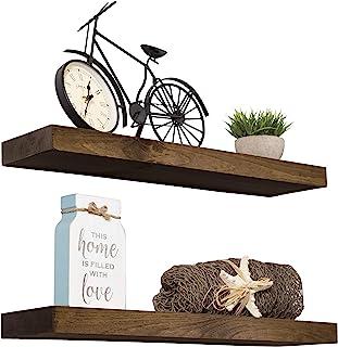 "Best Imperative Décor Floating Shelves Rustic Wood Wall Shelf USA Handmade | Set of 2 (Dark Walnut, 24"" x 5.5"") Review"