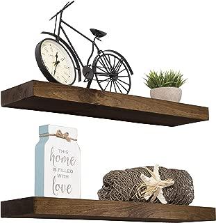 Imperative Décor Floating Shelves Rustic Wood Wall Shelf USA Handmade   Set of 2 (Dark Walnut, 24
