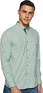 CHEROKEE Men's Printed Regular fit Casual Shirt (400020226815_Aqua S)