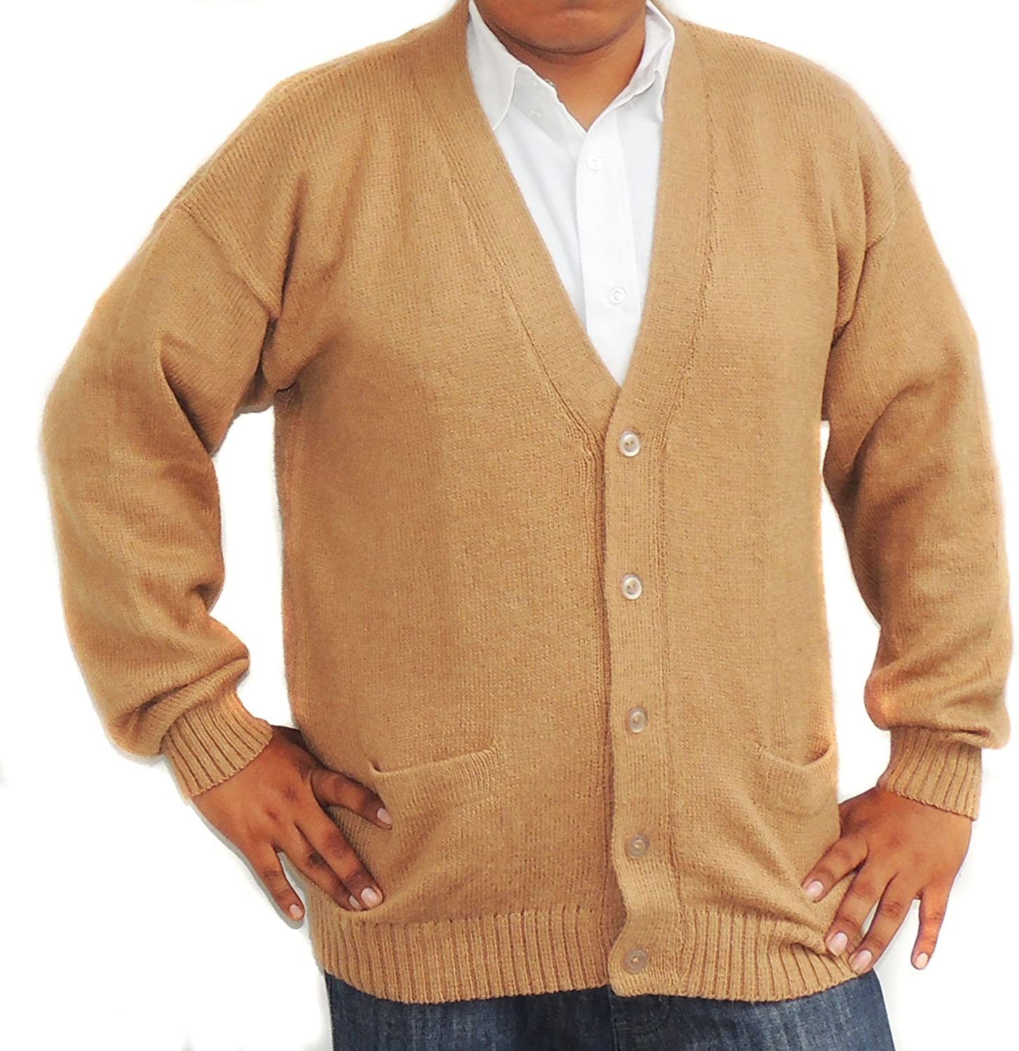ALPACA CARDIGAN GOLF Superior SWEATER Sale special price JERSEY V m neck and Pockets buttons