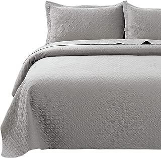 NEWLAKE 3 Pieces Quilt Bedspread Coverlet Set,Flower Petal Pattern, King Size