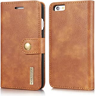 SHUANGRUIYUAN Fashion Retro Luxury Split Type Detachable Design Magnetic Flip PU Leather Case Cover with Stand & Card Slot for iPhone 6 Plus/6S Plus 5.5 (Color : Brown)
