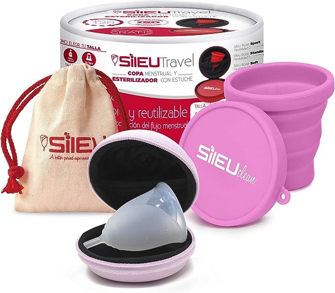 Pack Sileu Travel: Copa menstrual Rose - Modelo de iniciación - Talla XS, Transparente, Flexibilidad Soft + Estuche de Flor Rosa + Esterilizador ...