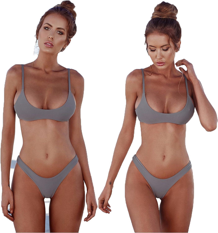 2018 Womens Sexy Solid color Brazilian Bikini Set Triangle Thong Soft Padded Leak Cleavage Bikini Set 2 Piece Swimsuit