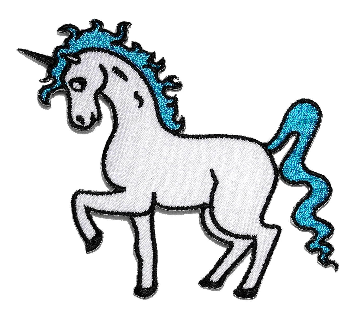 Blue Unicorn Cartoon DIY Applique Embroidered Sew Iron on Patch UNC-003