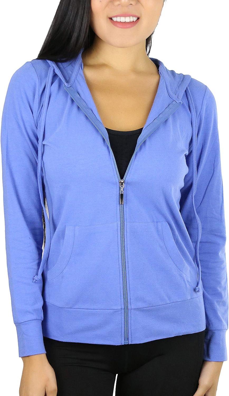ToBeInStyle Women's Thin Fabric Long Sleeve Kangaroo Pocket Zip Up Hoodie