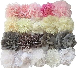 YYCRAFT YYCRAFT Chiffon-Perlen für Bastelprojekte, 5 cm, 20 Stück, 3-4.5white/Ivory/Pink/Grey Mix, 3-4.5