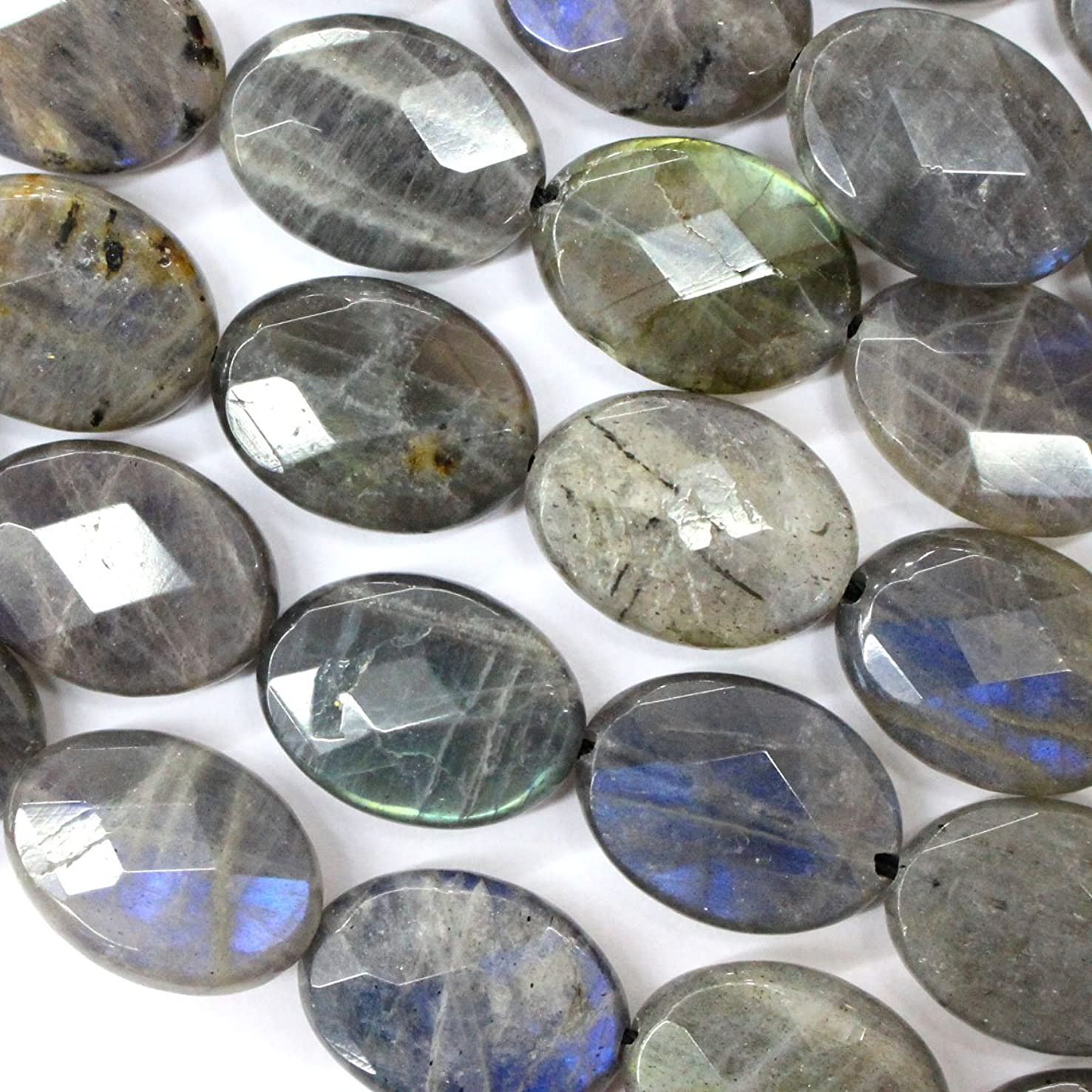 Faceted Natural Color Genuine Labradorite Oval Real Gemstones Loose Beads for Jewerly Bracelet Making (10*14mm)