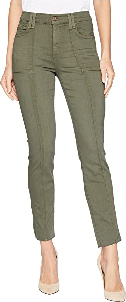 Roxanne Ankle w/ Paneled Seams & Cut Off Hem in Army Sandwashed Twill