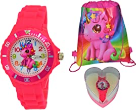 Hot Pink Lucky Baby Unicorn Gift Set Silicone Watch for Kids Girls & Drawstring Knapsack.