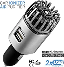 Car Air Purifier Ionizer - 12V Plug-in Ionic Anti-Microbial Car Deodorizer with Dual USB Charger - Smoke Smell, Pet and Fo...